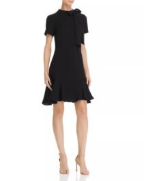 SHOSHANNA Bosher Tie-Neck Black Dress