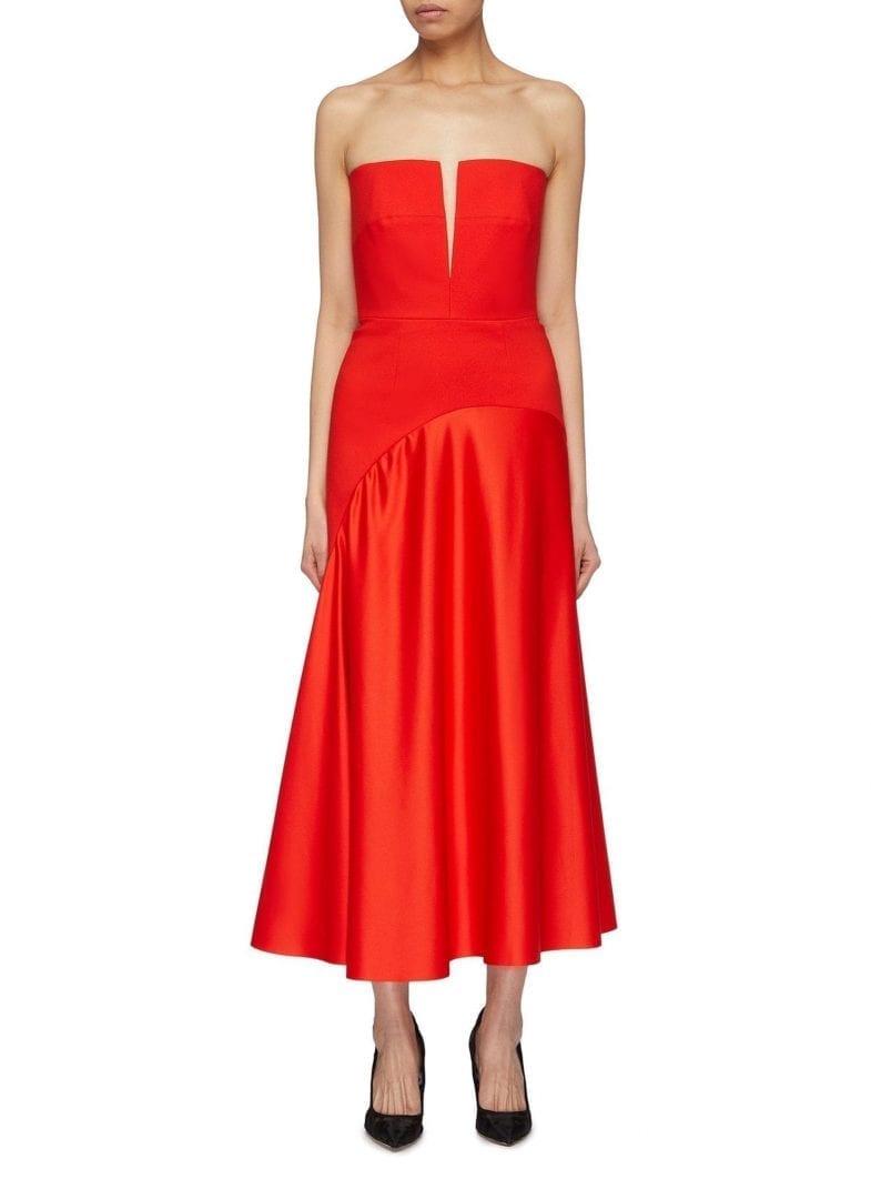 2d7ef86dca SOLACE LONDON  Tali  Plunge V-neck Off-shoulder Red Dress