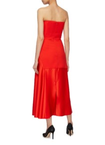 SOLACE LONDON 'Tali' Plunge V-neck Off-shoulder Red Dress