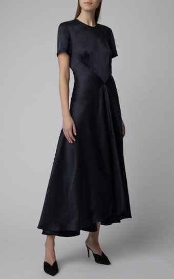 SPORTMAX Vibo Short-Sleeve Satin Navy Dress