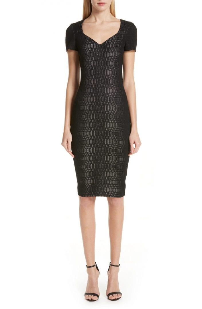 ST. JOHN COLLECTION Illusion Jacquard Knit Black Dress