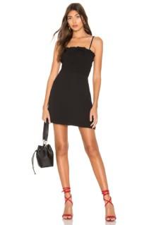 SUPERDOWN Anna Smocked Mini Black Dress