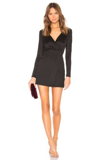 SUPERDOWN Delia Cross Front Black Dress