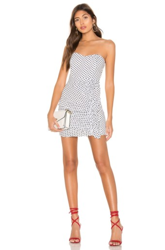 SUPERDOWN Jordy Strapless Ruffle White / Black Dress