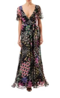 TEMPERLEY LONDON Claudette Wrap Black Dress