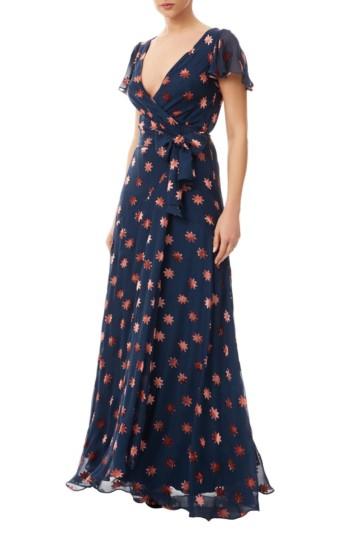 TEMPERLEY LONDON Velvet Star Wrap Navy Dress