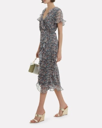 THE EAST ORDER Cece Ruffle Midi Blue / Floral Printed Dress