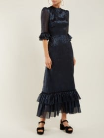 THE VAMPIRE'S WIFE Cinderella Ruffle-trimmed Silk-blend Navy Dress