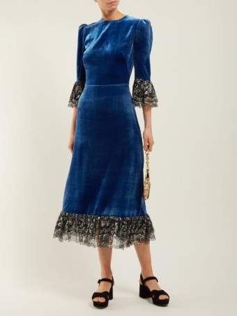 THE VAMPIRE'S WIFE Falconetti Lace-trimmed Velvet Midi Blue Dress