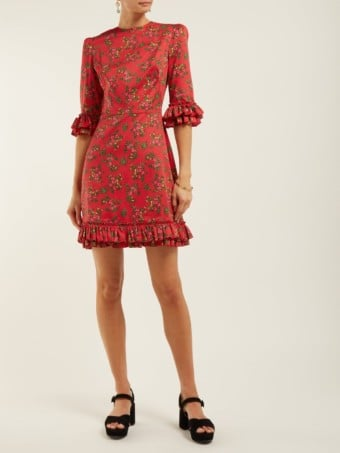 THE VAMPIRE'S WIFE Festival Gypsy Cotton Mini Red / Floral Printed Dress