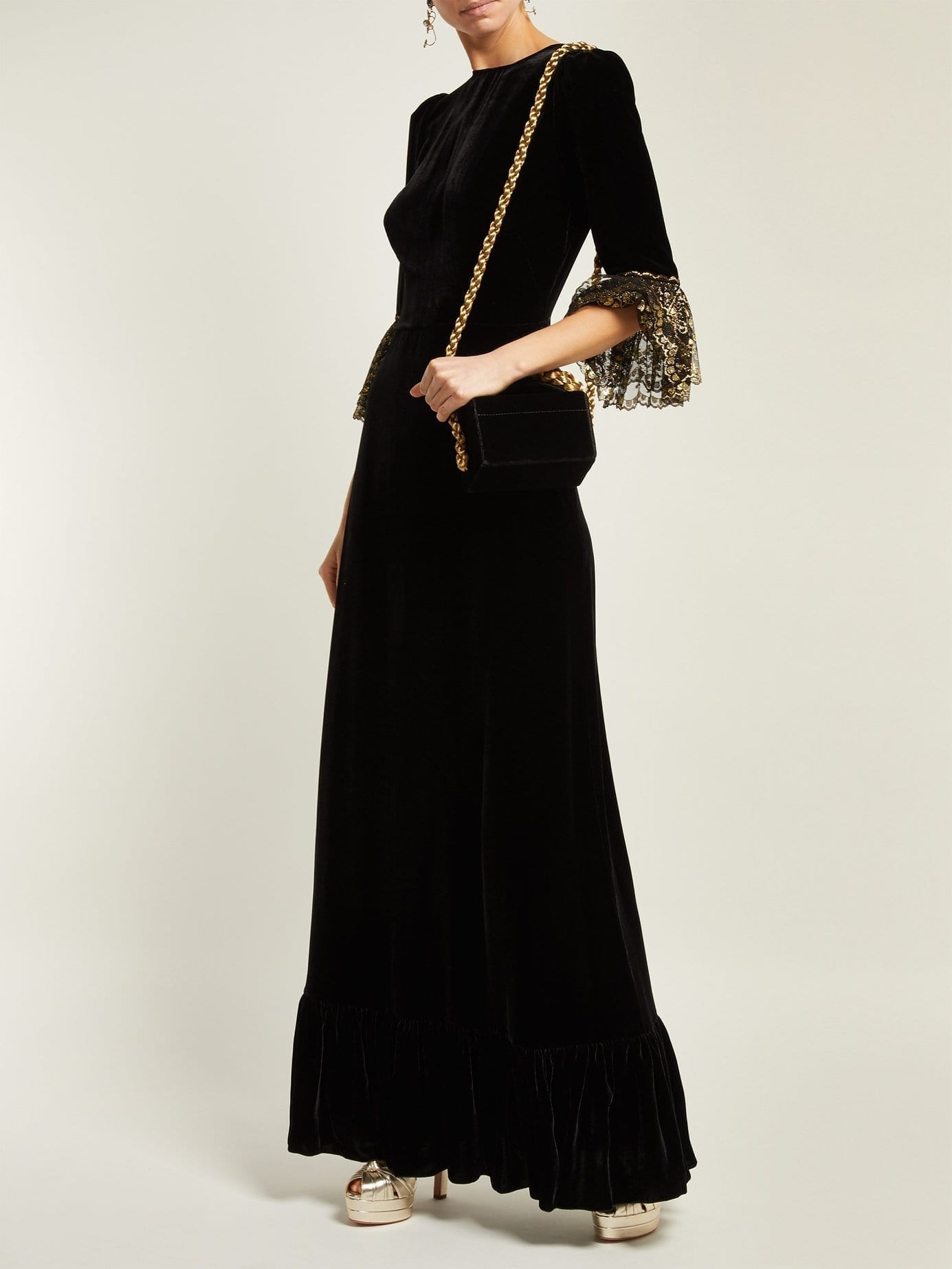 THE VAMPIRE'S WIFE Festival Lace-trimmed Velvet Midi Black Dress
