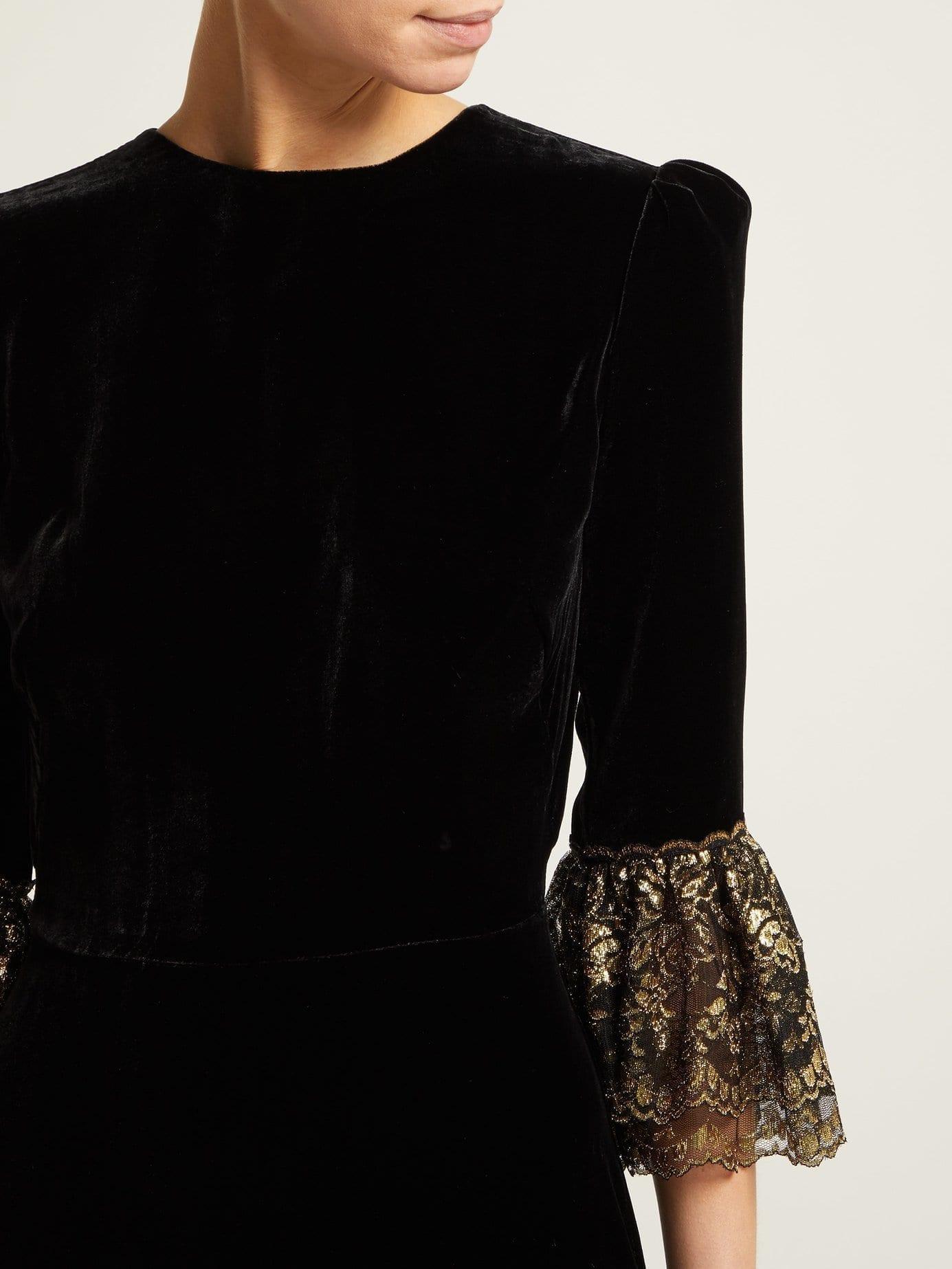 3a750589691 THE VAMPIRE S WIFE Festival Lace-trimmed Velvet Midi Black Dress ...