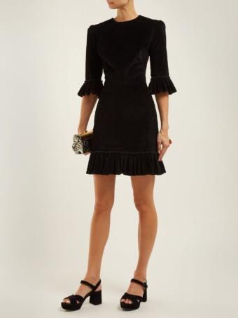 THE VAMPIRE'S WIFE Festival Ruffle-trimmed Corduroy Mini Black Dress