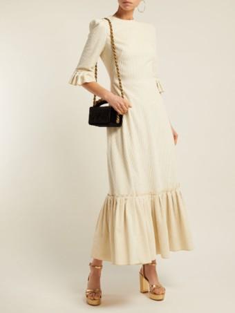 THE VAMPIRE'S WIFE Festival Ruffle-trimmed Velvet-corduroy White Dress