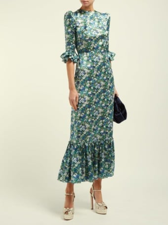 THE VAMPIRE'S WIFE Festival Silk Green / Floral Printed Dress