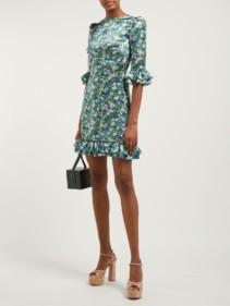 THE VAMPIRE'S WIFE Festival Silk Mini Green / Floral Printed Dress