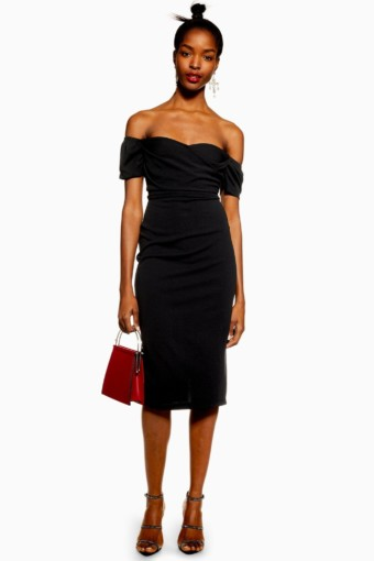 TOP SHOP Bardot Wrap Midi Black Dress