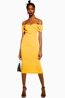 TOP SHOP Bardot Wrap Midi Orange Dress