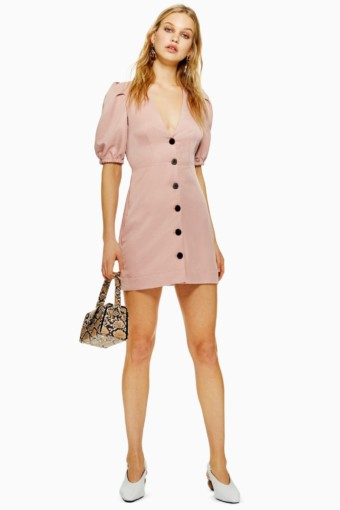 TOP SHOP Button Down Mini Pink Dress