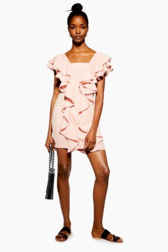 TOP SHOP Double Ruffle Mini Pink Dress