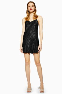 TOP SHOP Jacquard Mini Slip Black Dress