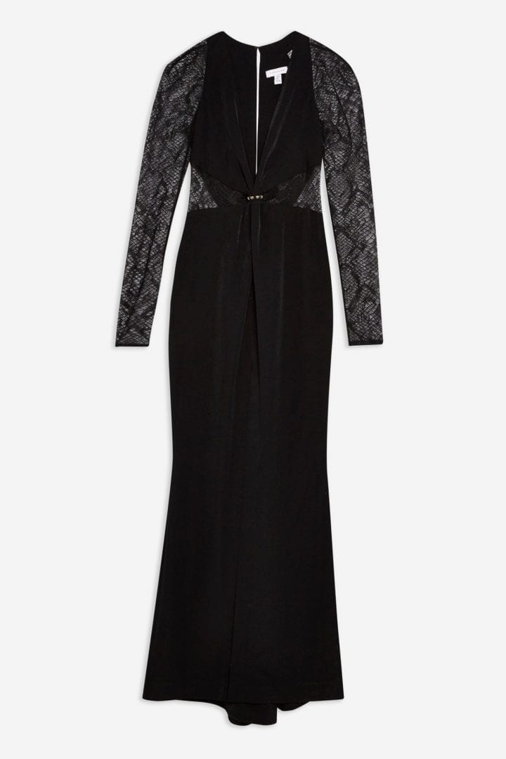 TOP SHOP Lace Panel Maxi Black Dress