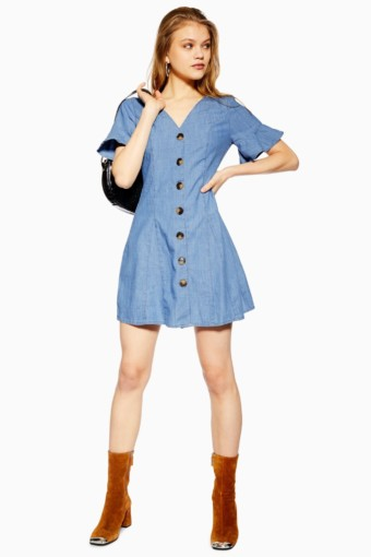 TOP SHOP Light Denim Horn Button Blue Dress