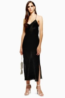 TOP SHOP Plain Satin Slip Black Dress
