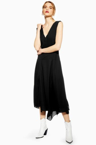 TOP SHOP Pleated Pinafore Black Dress