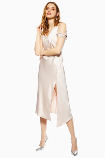 TOP SHOP Twist Shoulder Midi Nude Dress
