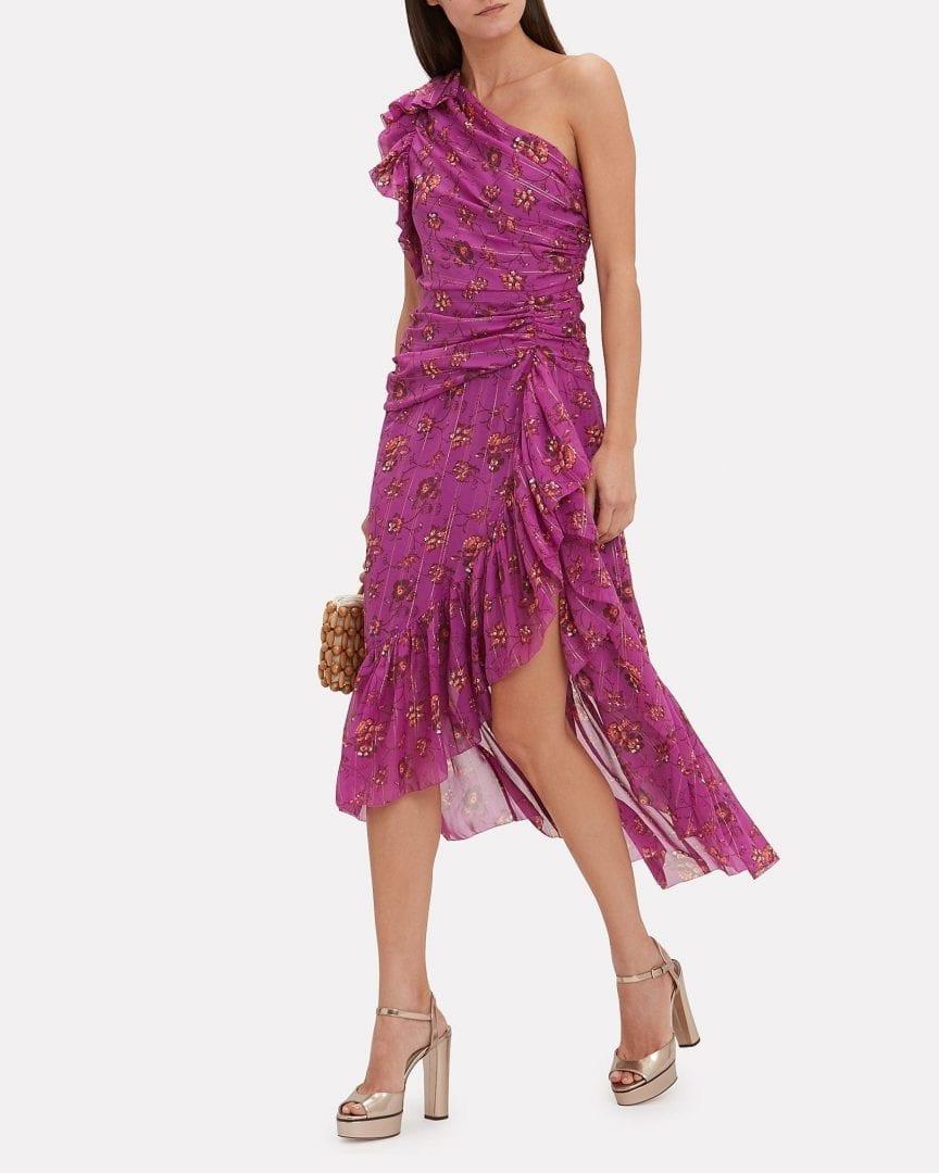 ULLA JOHNSON Belline One Shoulder Magenta / Floral Printed Dress