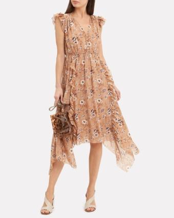 ULLA JOHNSON Ciel Midi Beige / Floral Printed Dress