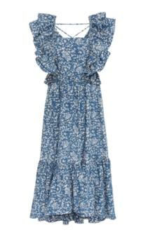 ULLA JOHNSON Freida Cotton blue Floral Printed Dress