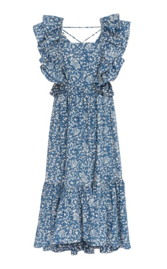 ULLA JOHNSON Freida Cotton blue Floral Printed Dress