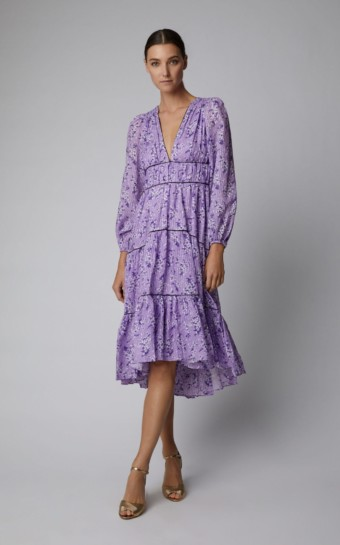 ULLA JOHNSON Joan Cotton-silk Purple / Floral Printed Dress