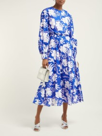 VALENTINO Abstract-Print Cotton Midi Blue Dress