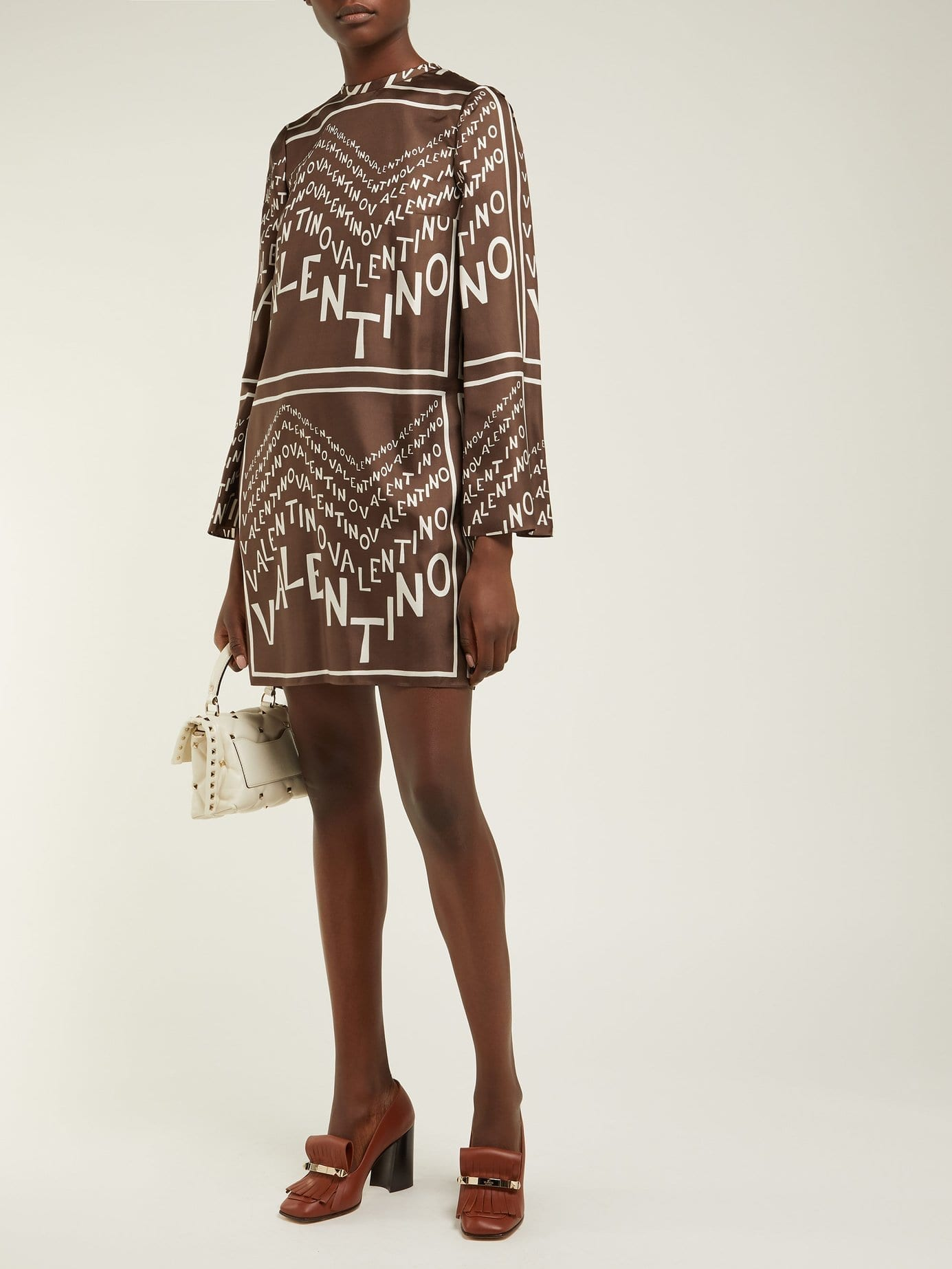 VALENTINO Chevron Logo Print Silk Satin Brown Dress