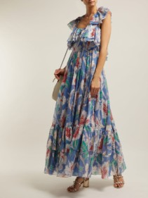 VALENTINO Hibiscus-print Cotton Maxi Blue Dress