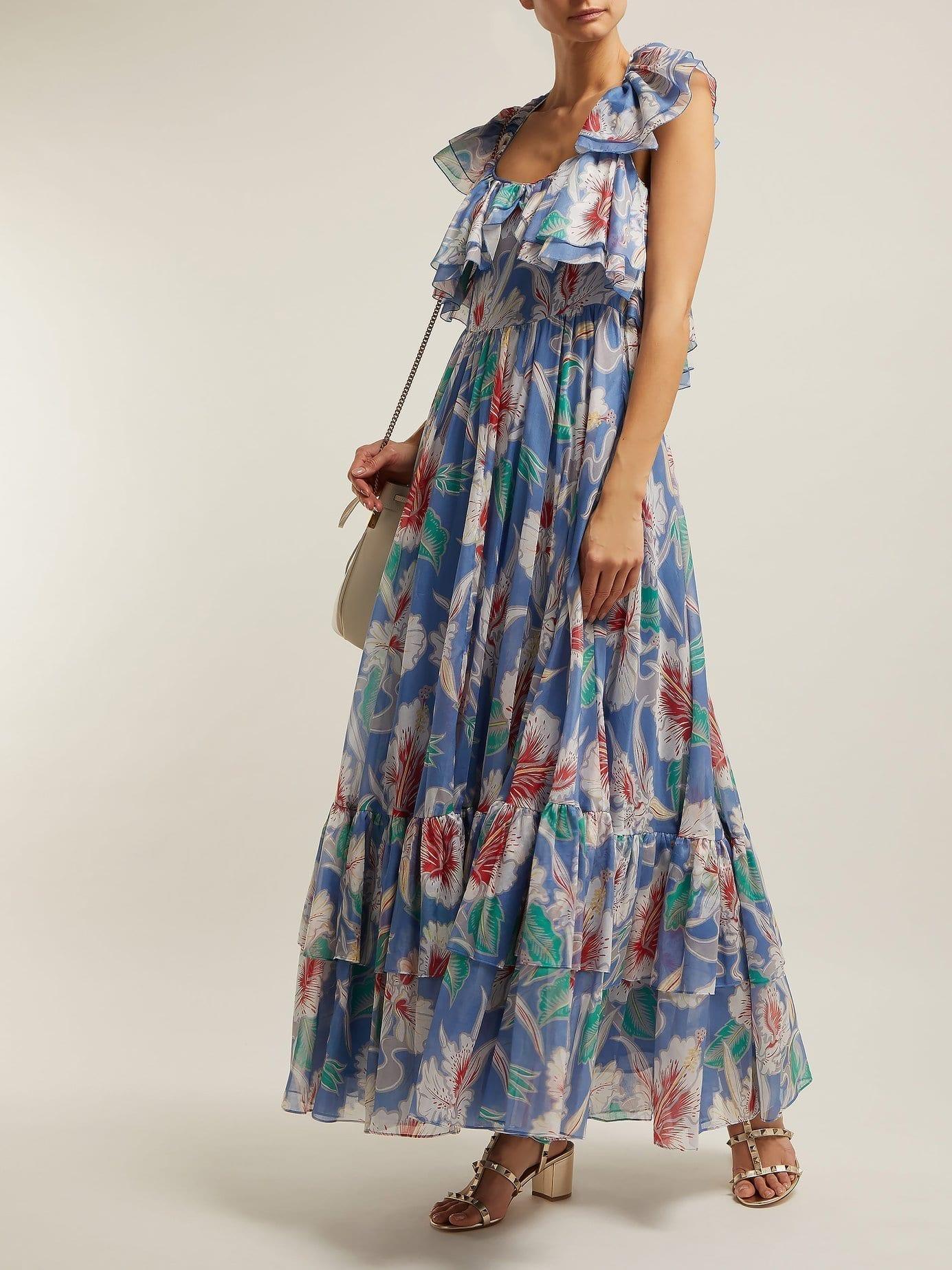VALENTINO Hibiscus-print Cotton Maxi Blue Dress