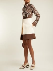 VALENTINO Logo-print Silk And Wool Mini Brown Dress
