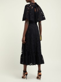VALENTINO Sangallo Lace Tie Back Maxi Black Dress