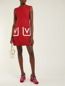 VALENTINO V-pocket Wool-crepe Mini Red Dress