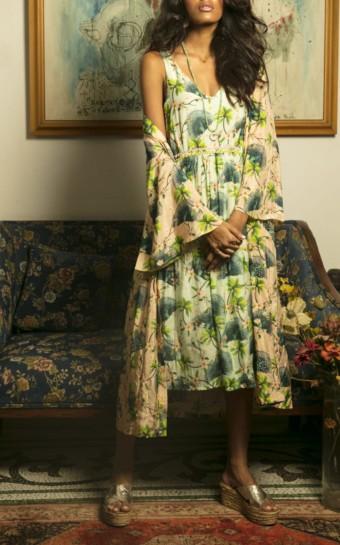 VERANDAH Midi Green / Printed Dress