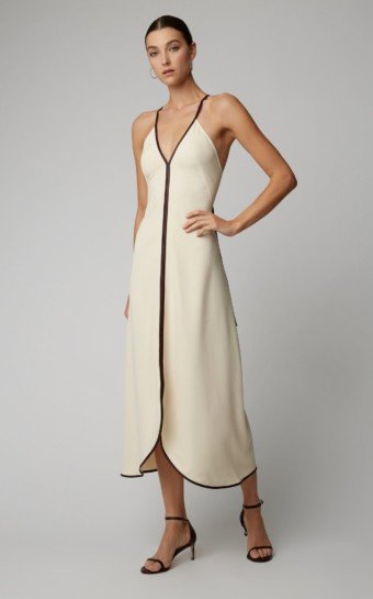 VICTORIA BECKHAM Leather-Trimmed Crepe Maxi White Dress