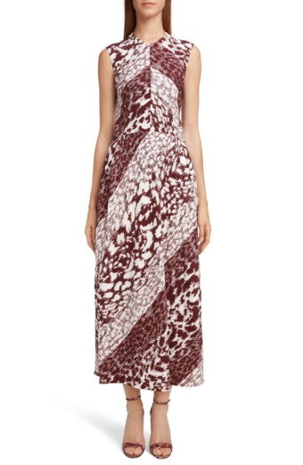 VICTORIA BECKHAM Side Gather Midi White / Printed Dress
