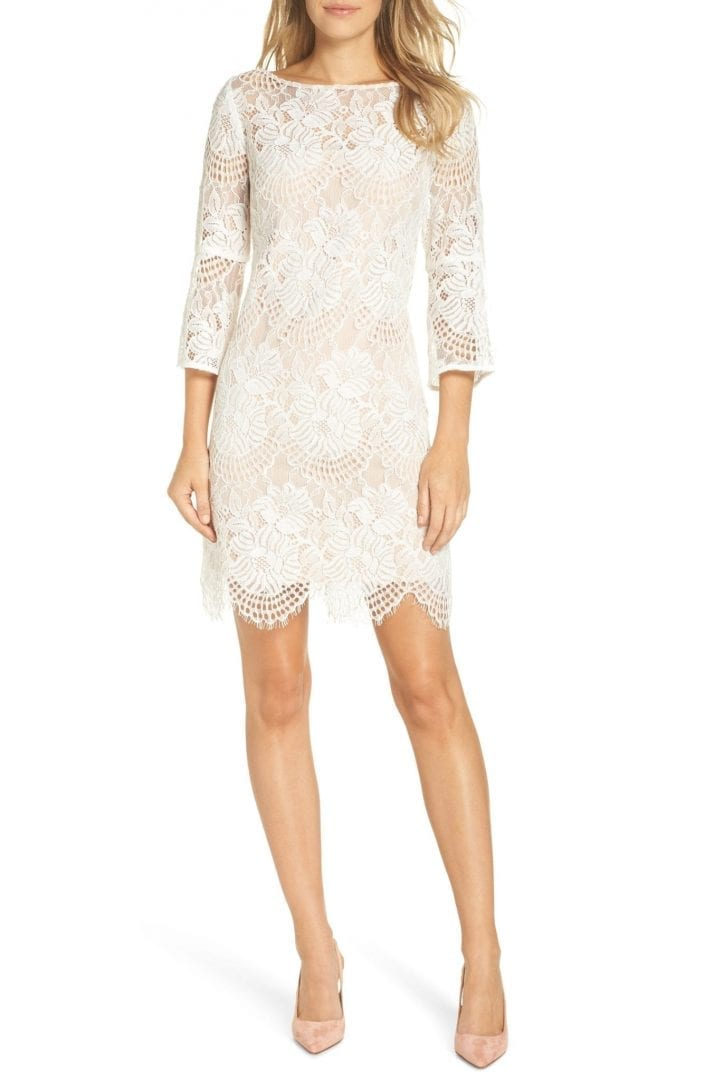 VINCE CAMUTO Lace Shift Ivory Dress