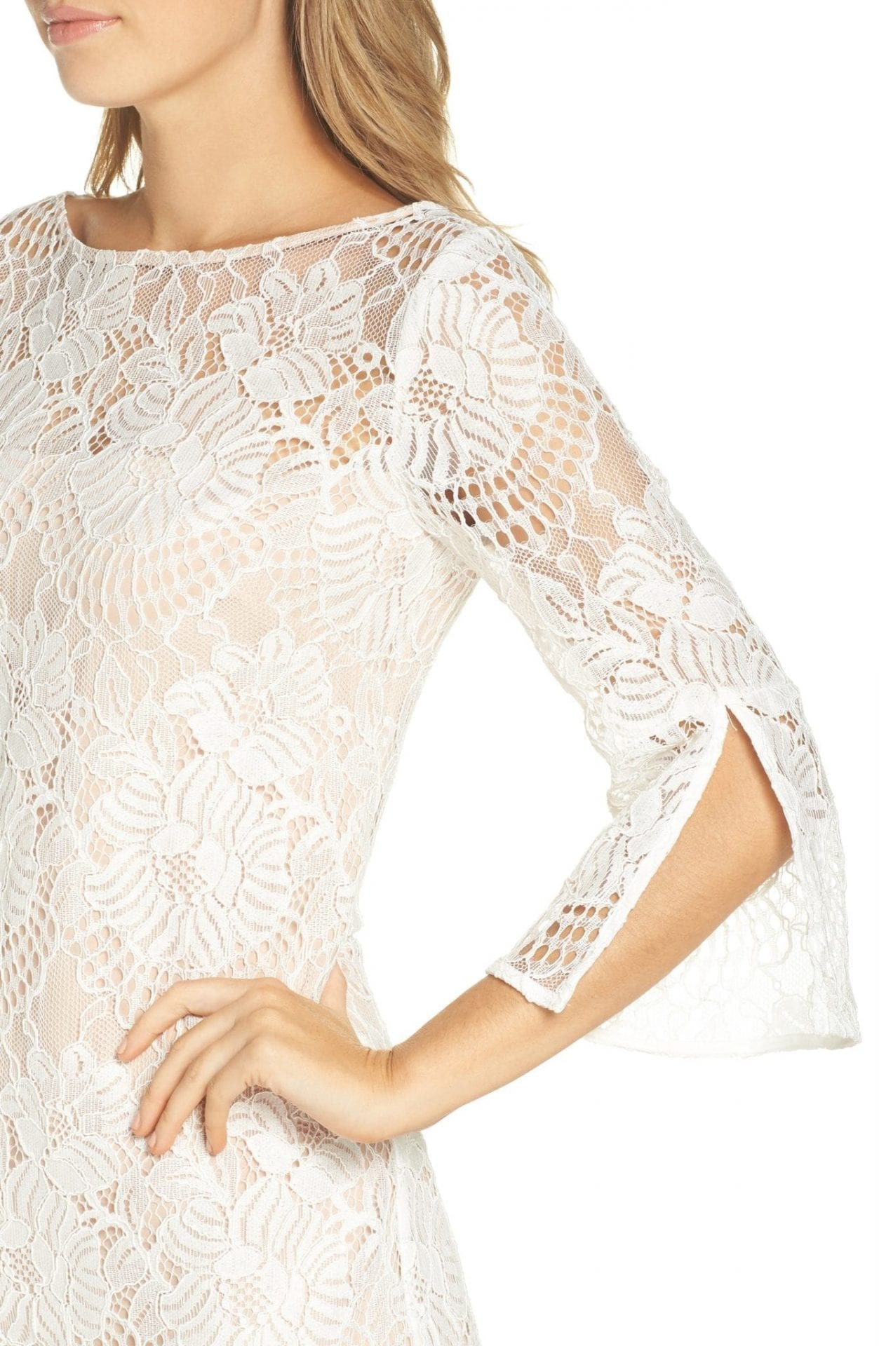 Vince Camuto Lace Shift Ivory Dress