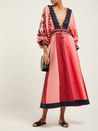 VITA KIN Celia Floral-embroidered Linen Midi Pink Dress