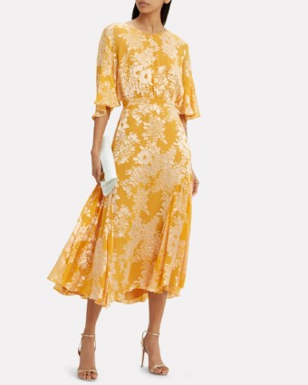 WARM Florence Midi Yellow / Floral Printed Dress