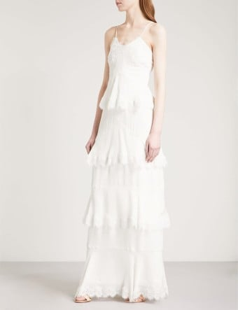 WHISTLES Isla Tiered Lace-trimmed Silk Crepe-de-chine Wedding Cream Dress